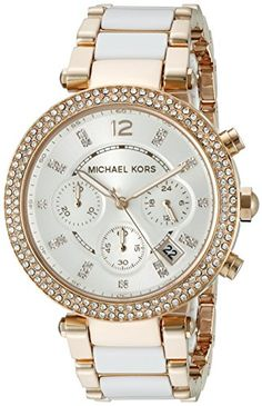 Michael Kors Womens MK5774 Parker Rose GoldTone White Watch ** To view further for this item, visit the image link.