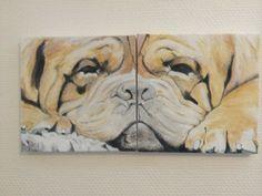 engelsk bulldog malet på to lærred