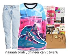"""""""Ayy"""" by queenbaddiie ❤ liked on Polyvore featuring H&M and NIKE"""