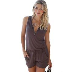 dc95b709dc 2017 New Sexy playsuits Women Summer style sleeveless Beach jumpsuit romper  zipper v neck Women casual short Girls overalls