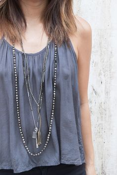 Chan Luu - Pyrite Mix Layering Necklace, (http://www.chanluu.com/necklaces/pyrite-mix-layering-necklace/)