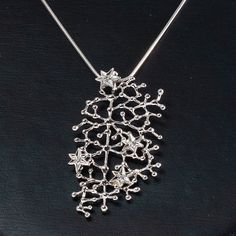 "Tapio Wirkkala, ""Star Sky"" pendant in silver and zircons. Recent production, design from 1967. #Finland 