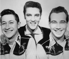 The original band - Elvis with guitarist Scotty Moore and bass player Bill Black