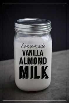 Homemade Vanilla Almond Milk // shutterbean (I MAKE IT WITH 1 STEVIA, VANILLA EXTRACT AND DELICIOUS- CAN ALSO ADD AN EXTRA STEVIA AND 1/2 TSP. COCOA)