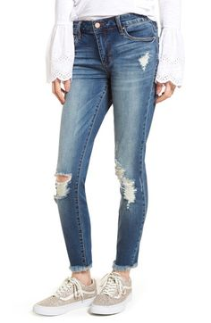 Main Image - BP. Distressed Fray Hem Skinny Jeans (Destroy)