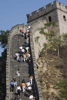 China, Badaling, Great Wall of China, tourists climbing steps