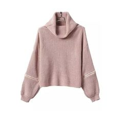 Pink High Neck Zipper Knit Sweater (€20) ❤ liked on Polyvore featuring tops, sweaters, zip sweater, brown tops, pink top, knit sweater e pink sweater
