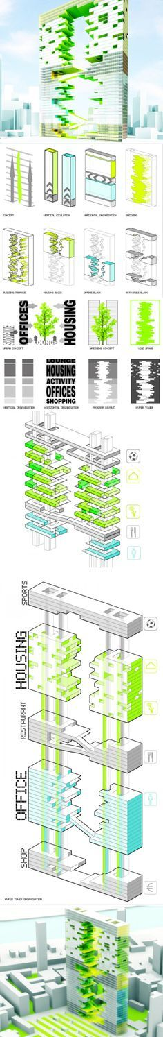 """Ecological Skyscraper in Paris with Green Terraces in Each Floor >> French architect Jaubert Francois proposes a new skyscraper for Paris that consists of two towers joined by a vertical park that starts at the ground plane and finishes at a soccer pitch on the rooftop. The """"Hyper-Tower"""" is a mixed-use development with residential and sports facilities on the top levels and commercial and leisure areas in the first floors. ..."""