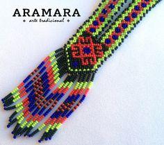 Mexican Huichol Beaded Necklace COM-0006 Huichol art by Aramara