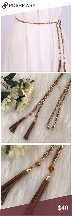 JUST IN! NWT Brown Faux Leather Chain Tassel Belt This is a beautiful belt! It has gold chain woven through it! It has a clip to hold it in place! It also has a fringe tassel on it! I have several cute tops that it would look fabulous with! Boutique Accessories Belts
