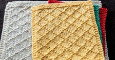 August 2016, Diamond Brocade knitted dishcloth pattern. It is a very pretty design and very simple to knit. Only knit and purl stitches