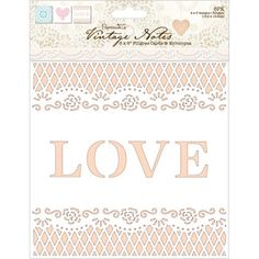 "Papermania Vintage Notes Filigree Lace Fabric Paper 12""x12"""