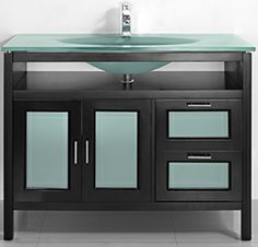 Espresso Finish Tempered Glass Basin and Countertop 2 Soft Close Drawers 2 Soft Close Doors - MONICA 43.3