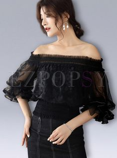 83776cd3385996 Shop Black Sweet Slash Neck Puff Sleeve Waist Top at EZPOPSY. Discover  fashion online.
