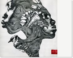 Modern art pen and ink painting by Gabriel Moreno. Really cool stuff!