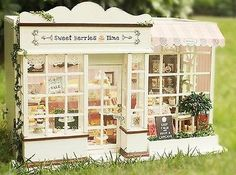 Dollhouse-Miniature-DIY-Kit-w-Light-Cake-Store-Bakery-Bread-Shop-Sweet-Berries