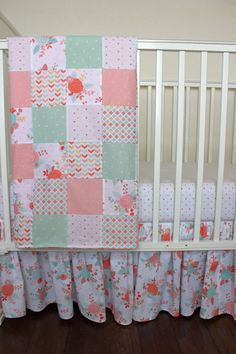 coral and mint floral crib bedding pink and gold nursery rose crib bedding floral crib skirt flower crib bedding baby girl bedding