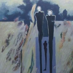 """Hommage à Giacometti 1998, Öl auf Leinwand/Holz, 90 x 90 cm      1. Preis im Giacometti-Wettbewerb des Magazins """"eccetera"""" und der Galerie """"DiSa"""""""