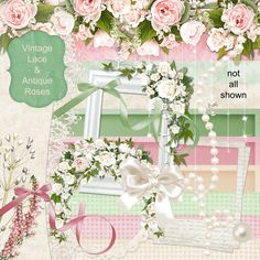 Digital Scrapbook Kit  Vintage Lace & Antique Roses  by cheyOkota, $4,49