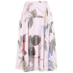 Ted Baker Distinguishing Rose Skirt (185 AUD) ❤ liked on Polyvore featuring skirts, patterned skirt, ted baker skirt, floral skirt, zipper skirt and floral print skirt