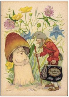 A vintage German postcard - traveler & mushroom