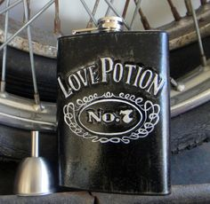 Stainless Steel Flask Love Potion No. 7 on etsy $66.00 **Inquire about group prices for My groomsmen