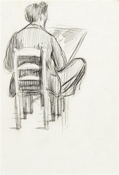 Artwork by Henri Evenepoel, Two works: The draughtsman; Profile, Made of Conté pencil drawing