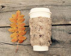 Coffee Cozy in Tan Tweed Coffee Sleeve Coffee Cup by beatknits