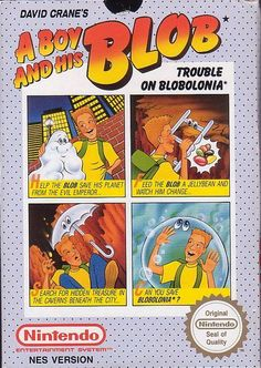 "Box art for ""A Boy and His Blob: Trouble on Blobonia,"" an adventure platformer released by Imagineering / Absolute for the Nintendo Entertainment System in 1989"