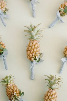 24 Summer Wedding Ideas to Copy for Your Own Celebration - Check out these steal-worthy summer wedding ideas, themes, and tips before you start planning your warm weather soirée. pineapple tropical boutonniere   {Koches Koncierge} Warm Weather, Summer Wedding, Pineapple, Celebration, Tropical, Wedding Ideas, Check, Tips, Party