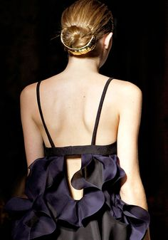 Ruffles - dress back detail; dark colours; elegant fashion details // Yves Saint Laurent