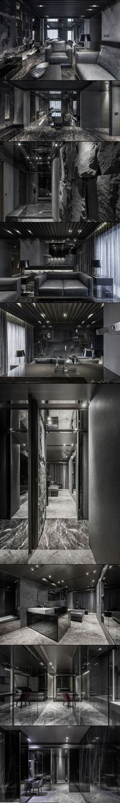 "Daring Monochromatic Interior Scheme: ""Home in Black Serenity"" in Taipei"