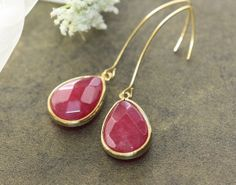 Ruby Jade with Long EarWire Earrings    Gift ideas  by zara1009, $23.00
