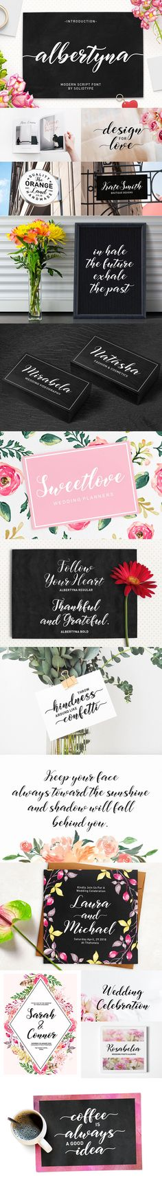 A lovingly modern script calligraphy, elegant, tasty flow and playful with swashes. Features Open type feature, stylistic alternates, ligatures and International support for most Western Languages. You need a program that supports OpenType features such as Adobe Illustrator CS, Adobe Photoshop CC, Adobe Indesign. #ad #creativemarket