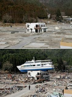 ★♥★ A picture combo shows a sightseeing #boat on the #roof of a  #guesthouse in #Otsuchi northern Japan, May 7, 2011, and a view of the  same guesthouse, Feb. 15 2012.  March 11, 2012 marked the first  anniversary of the 9.0-magnitude earthquake and subsequent #tsunami that  devastated northeastern #Japan and triggered a #nuclear #disaster  at  the #Fukushima #Daiichi Nuclear Power Plant. (Kimimasa Mayama/EPA)