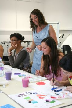 A hands on exercise during Colour for Interior Design. Photo: Lisa Hall