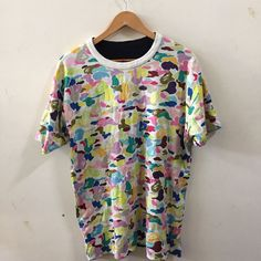 Bape Multi Camo Reversible Short Sleeve  Shirt A bathing ape cotton candy shark  | eBay