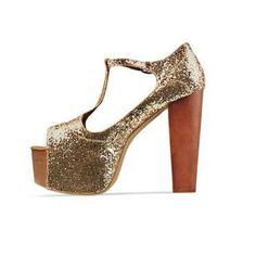 dd2c34b085d  heels  glitter Fashion T Strap Chunky High Heels Platform Golden PU Sandals  Chunky High