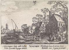 Jan van de Velde (II)   November, Jan van de Velde (II), Anonymous, Johann Tscherning, 1684 - 1729   Landschap met vele figuren op een landweg waaronder een varkenshoeder met zijn kudde bij een dorp langs een rivier; voorstellende de maand november. Rechts wordt een varken geslacht voor een brouwerij. Langs de weg nog een brouwerij. Bovenaan het bij deze maand behorende sterrenbeeld: boogschutter. Elfde prent uit een serie van twaalf.