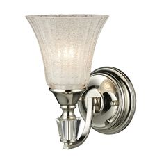 Elk Lighting Lincoln Square 1 Light Wall Sconce In Polished Nickel And Clear Crystalline GlassThe Lincoln Square collection presents a rich, classic shape featuring generous hand-cut crystal elements and a polished nickel finish. Elk Lighting, Wall Sconce Lighting, Lighting Ideas, Bathroom Lighting, Fireplace Lighting, Light Bathroom, Vanity Lighting, Lincoln Square, Bathroom Sconces