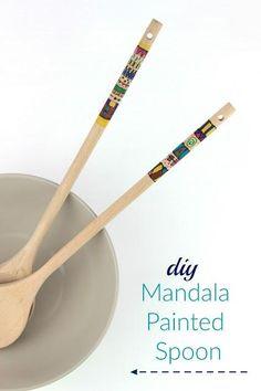 diy Mandala painted wooden spoon