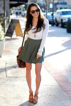 New olive circle skirt - c/o Chicwish, White top - Romwe, New bag/backpack - c/o Daily Look, Heels- Aldo, Necklace - c/o Papers and Peonies, Bracelet and ring - c/o Rings and Tings, Sunglasses - c/o Vivilli