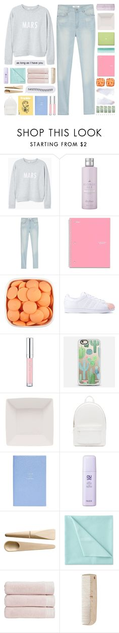 """Collab with @itsfashioninfinity "" by paradiselemonade ❤ liked on Polyvore featuring MANGO, Drybar, MAC Cosmetics, Five Star, adidas, Essence, Casetify, PB 0110, Smythson and Muuto"