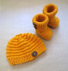 READY TO SHIP newborn knit hat and bootie set. Mustard by MadeWise, $35.00