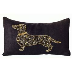 Amore Beaute Customizable Black Burlap Pillow Cover with Dachshund... (46 AUD) ❤ liked on Polyvore featuring home, home decor, throw pillows, burlap throw pillows, gold sequin throw pillow, beaded throw pillows, handmade throw pillows and dachshund home decor