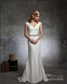 Wholesale Justin Alexander 8667 Mermaid Wedding Dresses V Neck Beaded Pleated Sparkle Hot Sale Bridal Gowns Court