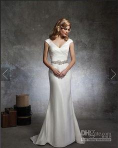 Wholesale Justin Alexander 8667 Mermaid Wedding Dresses V Neck Beaded Pleated Sparkle Hot Sale Bridal Gowns Court