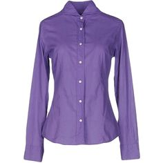 Mazzarelli Shirt (8.525 RUB) ❤ liked on Polyvore featuring tops, mauve, purple top, cotton shirts, purple long sleeve shirt, purple long sleeve top and mauve shirt