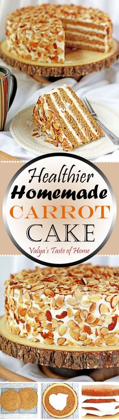 Healthier version of regular carrot cake recipe. Greek Yogurt butter cream takes this cake to the next level. Toasted almond chips finish that irresistible tasty slice of cake.