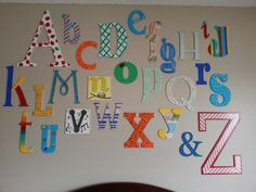 The nursery alphabet wall. Everyone at the shower did a great job.